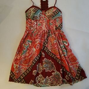 American Rag Colorful Boho Halter Dress M